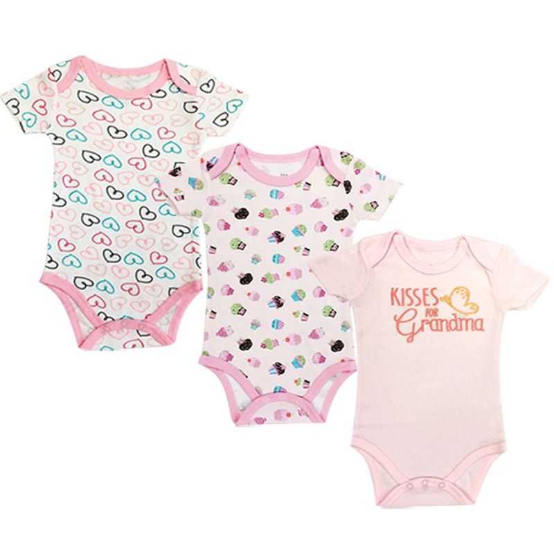 Baby Girl Bodysuit Newborn Toddler Infant Romper Jumpsuit Cotton Short Sleeve Clothes 3 Pack 0-24M Summer Outfits
