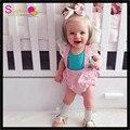 Frete Grátis Sweety Funda Bloomers Com T-shirt 2 pcs Conjunto de Roupas Para As Meninas Flutter Laço Ombro Fantasia Pircess Outfits
