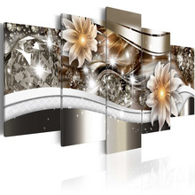 5 Pieces HD Canvas Painting Exquisite diamond background beautiful flowers Paintings Modern Wall Pictures Framed PJMT- (4)