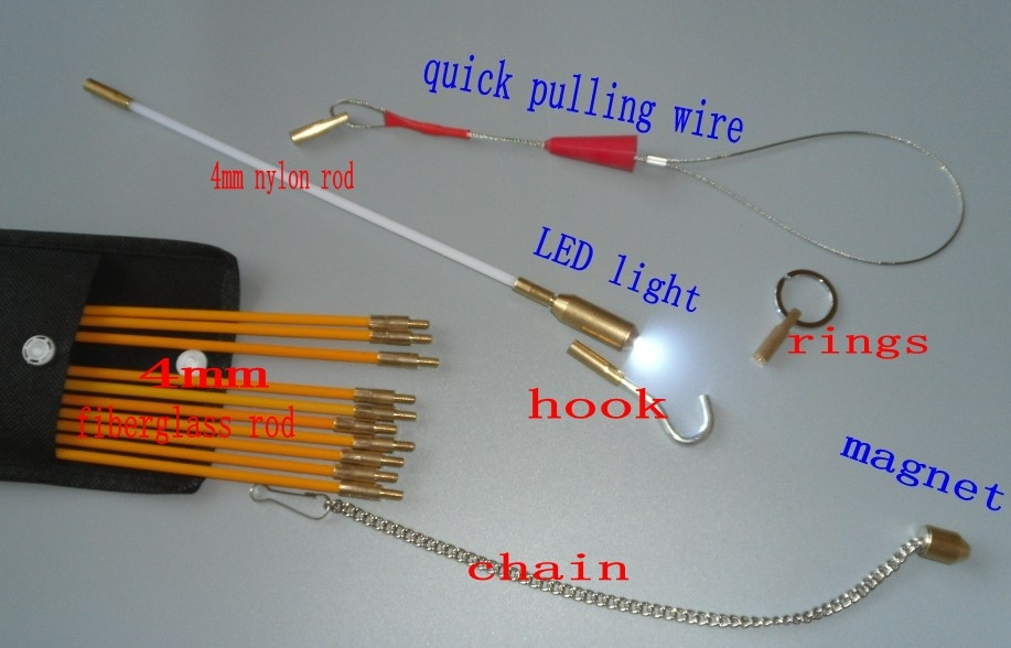 10x60cm Cable Access Kits 10PCS rods with hook,rings,LED light,magnet,chain cable puller push pull rod sanke rod wire puller cable access kits 60cm rods with hook rings led light magnet chain cable puller push pull rod sanke rod wire puller
