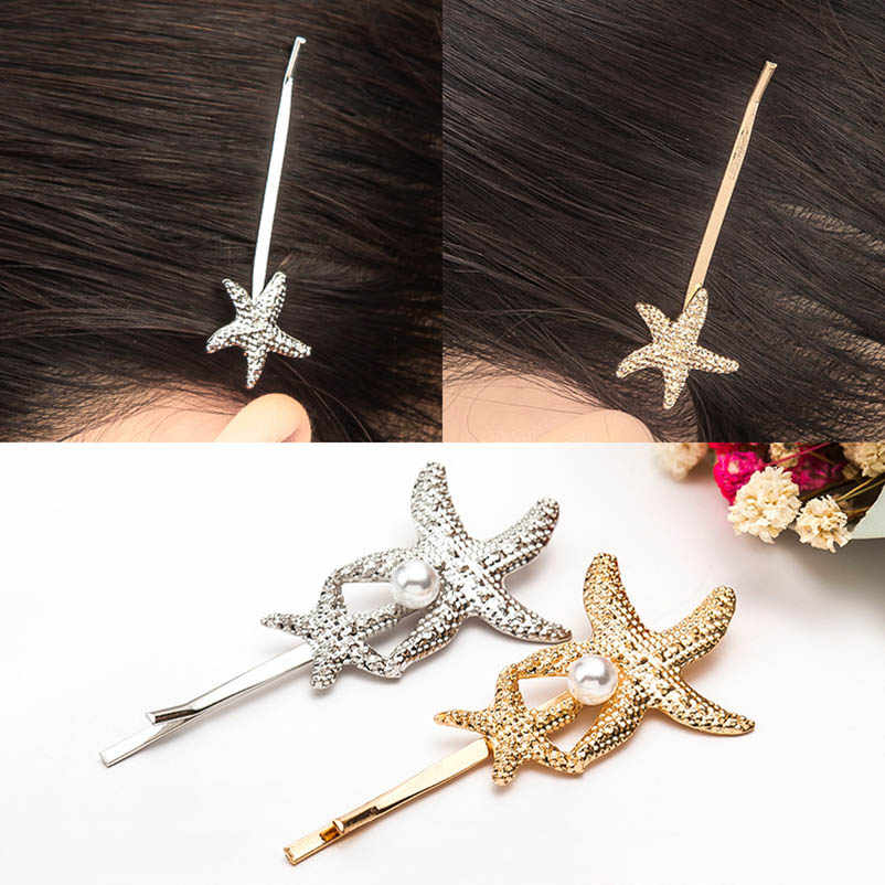 Conch Shell Starfish Golden Silver Alloy Hair Clips & Pins Bobby Pins Headwear Hair Accessories for Women