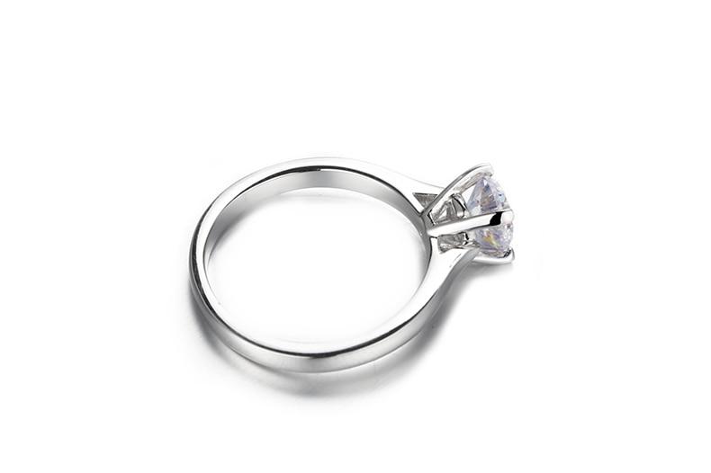 2689ecb14f1e 14 K chapado en oro blanco de plata 3.0ct 9mm redondo corte G Moissanite  anillo de compromiso aniversario anillo apilable anillo Moissanite anillo  las ...