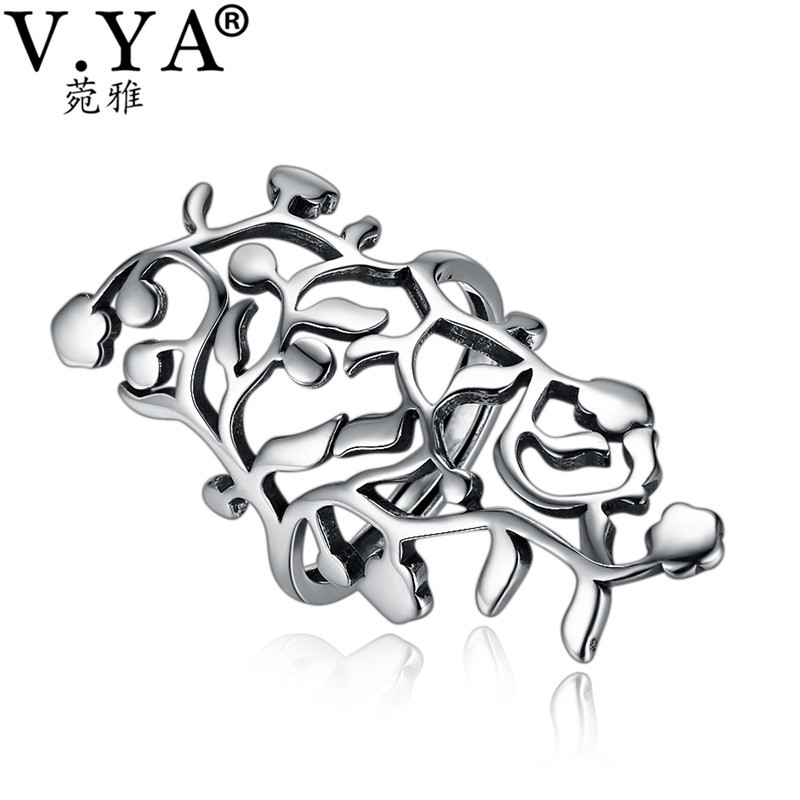 V.YA Fashion Hollow Big Rings For Women Adjustable Leaves Ring 925 Silver Jewelry Accessories Party Wedding Band