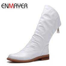 ENMAYER Fashion Spring Genuine Leather Mid-Calf Women Boots High Quality Black Shoes Female Waterproof Ladies