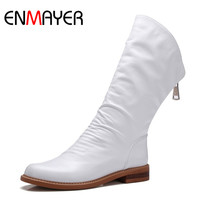 ENMAYER Fashion Spring Genuine Leather Mid Calf Women Boots High Quality Black Women Shoes Female Waterproof