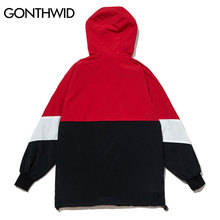 GONTHWID Patchwork Color Block Pullover Hooded Jackets Zipper Tracksuit