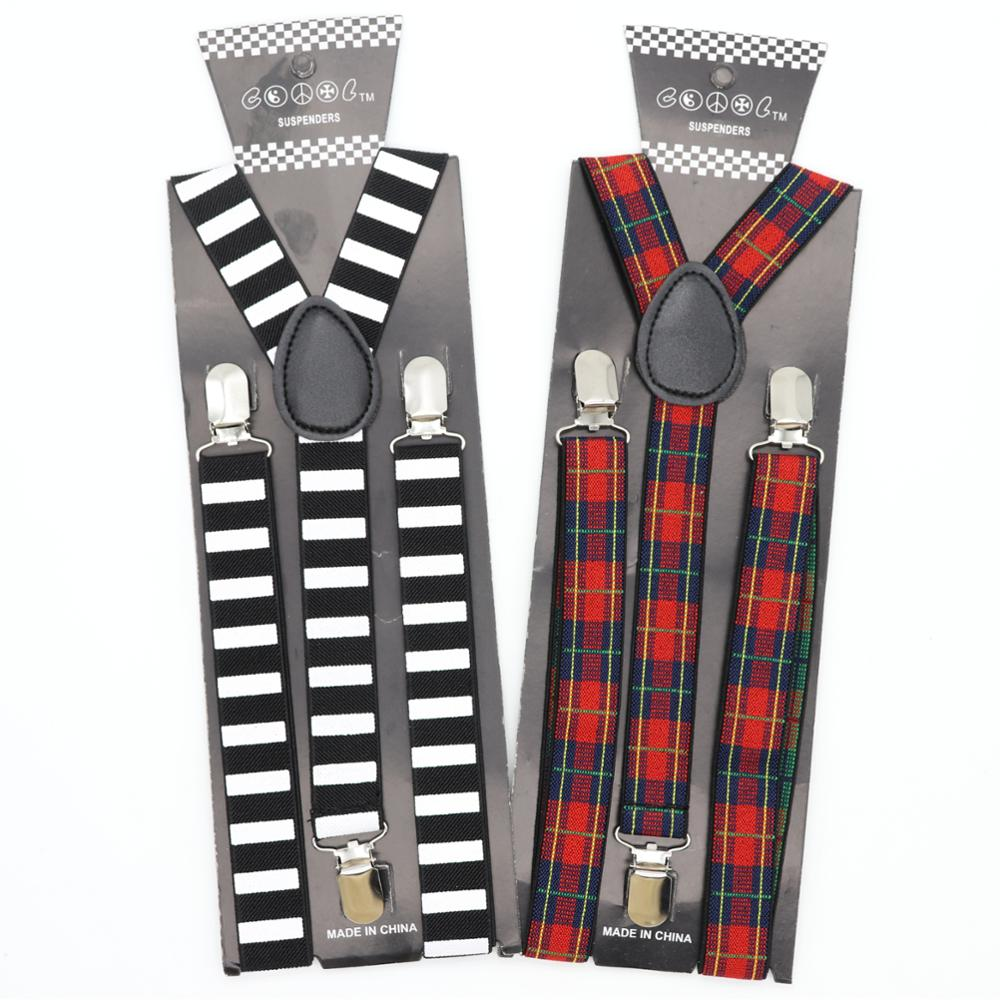 Fashion 3 Clip Width 2.5cm Male Suspenders For Men Women Child Baby Brace Cherry Pumpkin Lattice Stripe Groom Accessories Gift