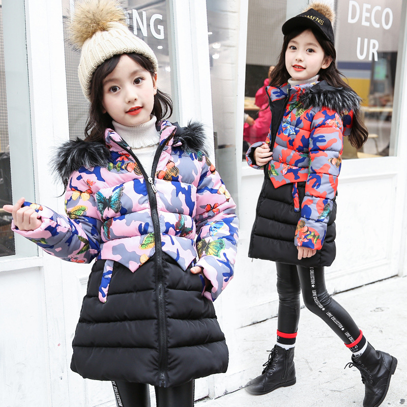 New Girl Winter Jacket Kids Down Coat Children Patchwork Long Printing Floral Jackets For Girls Fashion Outerwear Warm Parkas fashion girls winter coat long down jacket for girl long parkas 6 7 8 9 10 12 13 14 children zipper outerwear winter jackets