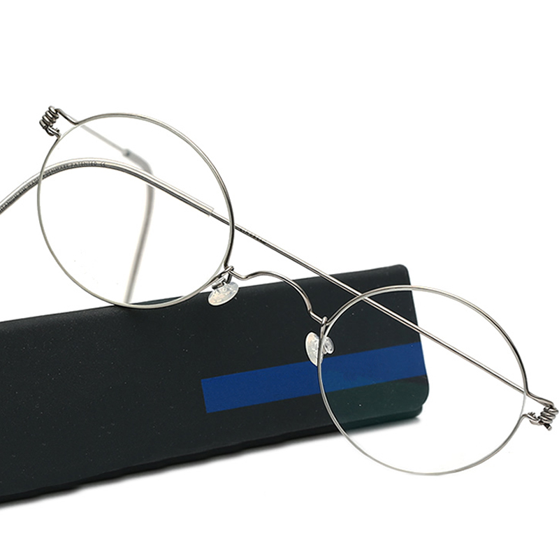 Uomini Rotondi Danimarca Fatti A Mano Coreano Montature Per Occhiali Eyewear Occhiali Da Vista Ottica Senza Viti Luna Jae-in con la scatola originale