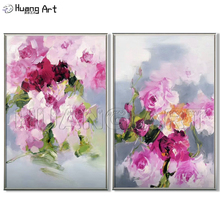 Hand-Painted Pick Flower Oil Painting On Canvas Modern Wall Picutre for Home Decor Handmade Impression