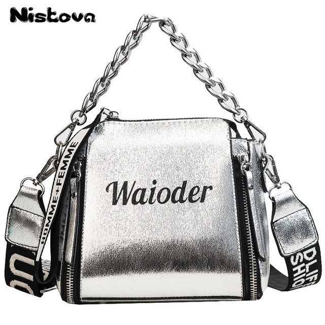 Women's New Chain PU Bucket Handbag Letters Wide Shoulder Belt Fashionable Casual Single Shoulder Bag Oblique Messenger Bag