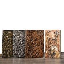 בציר מחברת מגזין מגזין Sketchbook עסקים יומן ספר סגנון ימי הביניים יד מגולף קוסם עמוק בולט מסגרת