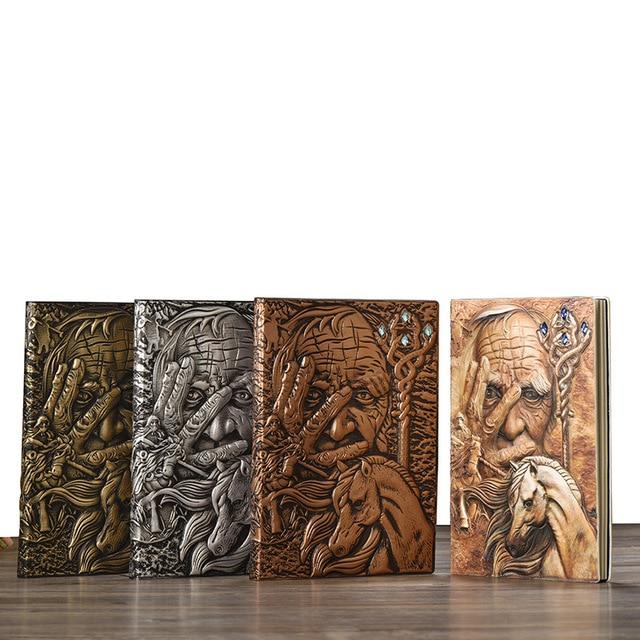Vintage Magazine cahier Magazine carnet de croquis journal daffaires livre Style médiéval sculpté à la main magicien cadre en relief profond