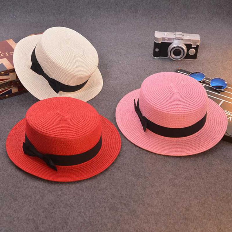 deb2021127faa ... Fashion Parent-child sun hat Cute children sun hats bow hand made women  straw cap ...