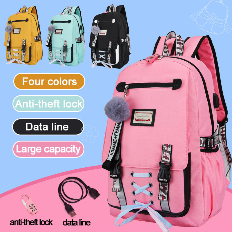 2019 Large Capacity School Bags For Teenage Girls Usb With Lock Anti Theft Backpack Women Book Bag High School Bag Youth Leisure