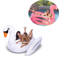 Inflatable Flamingo Swimming Pool Float Giant 190cm Ride on White Swan Swimming Lounge Summer Holiday Beach Lifebuoy Toys Raft