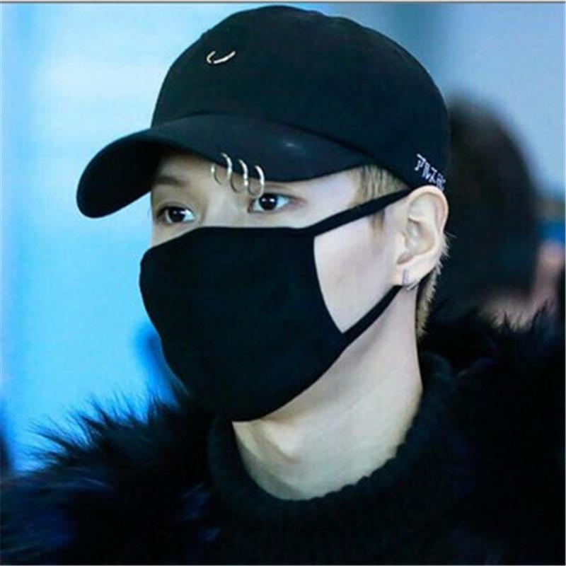 Hot selling 2NE1 CL  bigbang G-gdraon  BTS JIMIN  SUGA V Fashion K POP  Iron Ring Hats  adjustable Baseball cap100% cotton  Сникеры