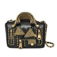 2017 Women Messenger Bags PU Leather Personality Jacket Rivets Chains Lady Handbag Flap Shoulder Golden Silver