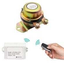 Elektromagnetyczny wyłącznik akumulatora samochodowego 12V odłącz przekaźnik z zatrzaskiem + pilot automatyczny automatyczny elektromagnes z końcówką zasilania