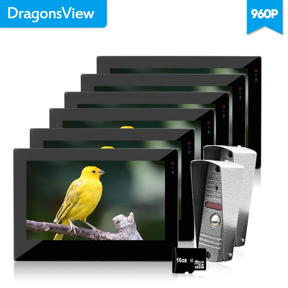 Dragonsview 1.3MP 960P 7 Inch Video Doorbell Wired Door Phone Intercom System 6 Indoor Monitors 2 Outdoor Panels Video Camera