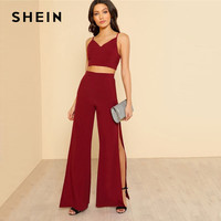 SHEIN Burgundy Crop Cami Top And Pants Set 2 Piece Outfits For Women Summer Sexy V Neck Top High Slit Wide Leg Pants Sets