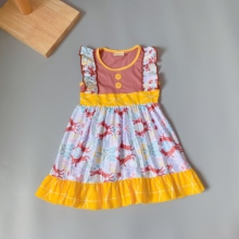 2019 NEW girl clothing Summer brown top rabbit  pattern frock boutique Infants toddler Kids ruffles little princess dress