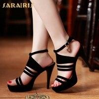 SARAIRIS 2018 Dropship Fashion Women's Shoes Sandals Pumps Woman Thin high heeled Buckle Strap Round Toe Mules Shoe