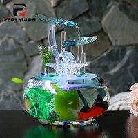 В 220 100 в керамическая ваза цветочный фонтан фэн шуй Настольный светодио дный орнамент светодиодный свет счастливый домашний декор увлажнит
