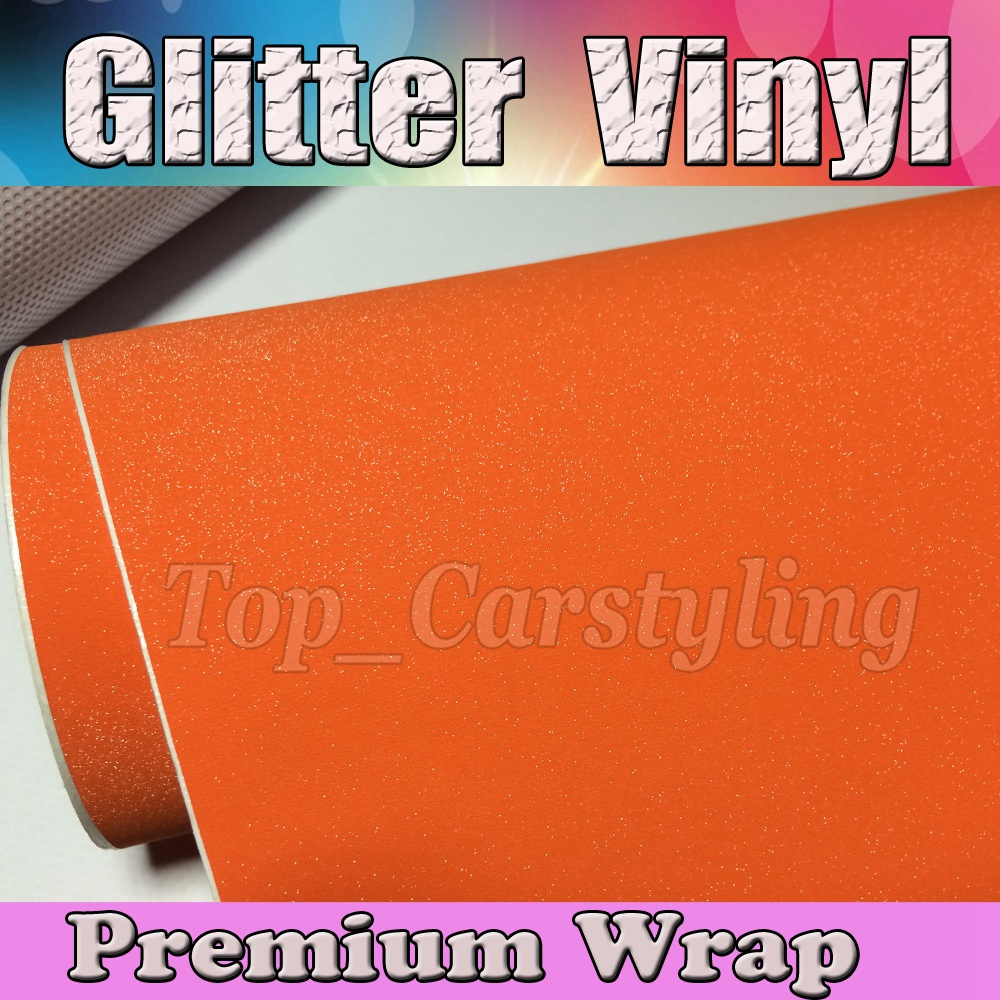 Orange Sparkle Glitter Vinyl Car Wrap Sticker Pearl with Air bubble Free Decal Film car bumpers size 1.52x30m/Roll 5x98ft