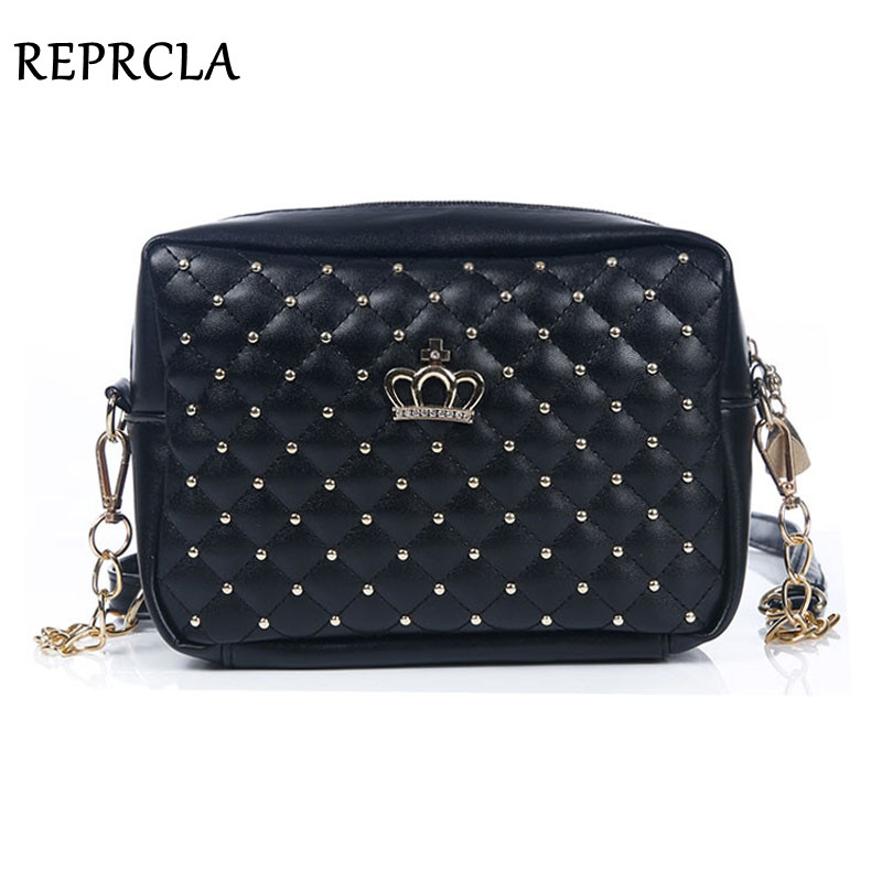 New Designer Women Bag Fashion Women Messenger Bags Rivet Chain Shoulder Bag High Quality PU Leather Crossbody Crown Bags sunmejoy fashion ribbons handbags designer women bag crossbody bags rivet shoulder bags embroidered floral women messenger bag
