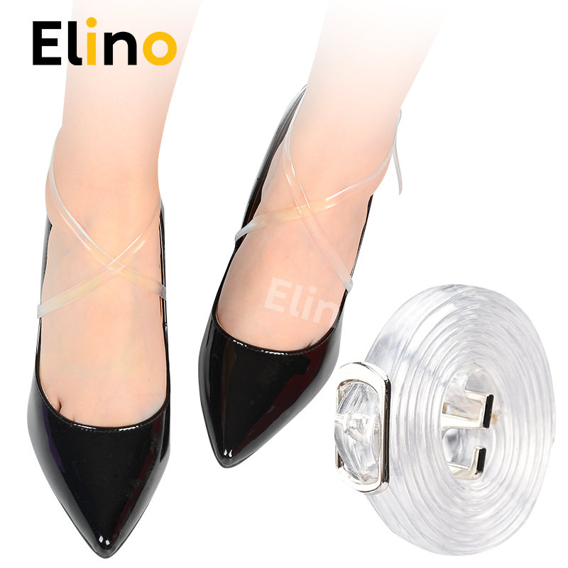 Elino 58cm Transparent PVC Shoelace For Lady High Heels Elastic Ankle Shoe Bands With Belts Buckles Invisible Shoe Straps