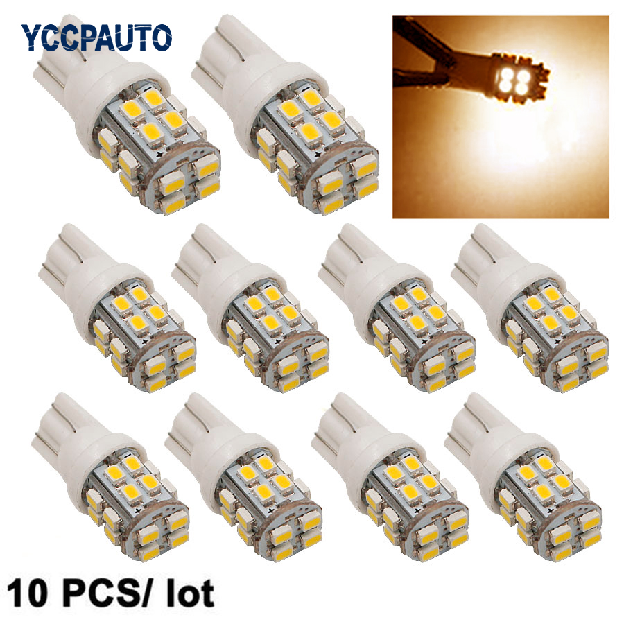 T10 LED Lights W5W Auto Wedge License Plate Bulbs Turn Signal Marker Led Lamps Warm White 20SMD 3020 1206 Dome 12V 194 168 10pcs