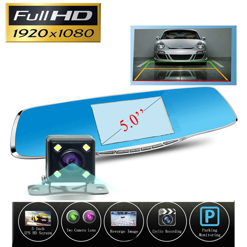 New 5 Inch Car Dvr Camera Rearview Mirror Digital Video Recorder With Dual Lens Registrar Camcorder