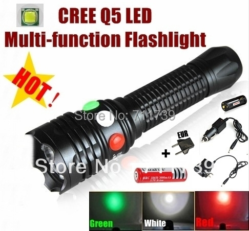 AloneFire CREE Q5 LED signal light Green White Red LED Flashlight Torch Bright light signal lamp + 1 x 18650 Battery / Charger powerful led flashlight 1503 cree q5 zoom 3 modes auminum alloy lantern white red green light charger gun mount rat tail