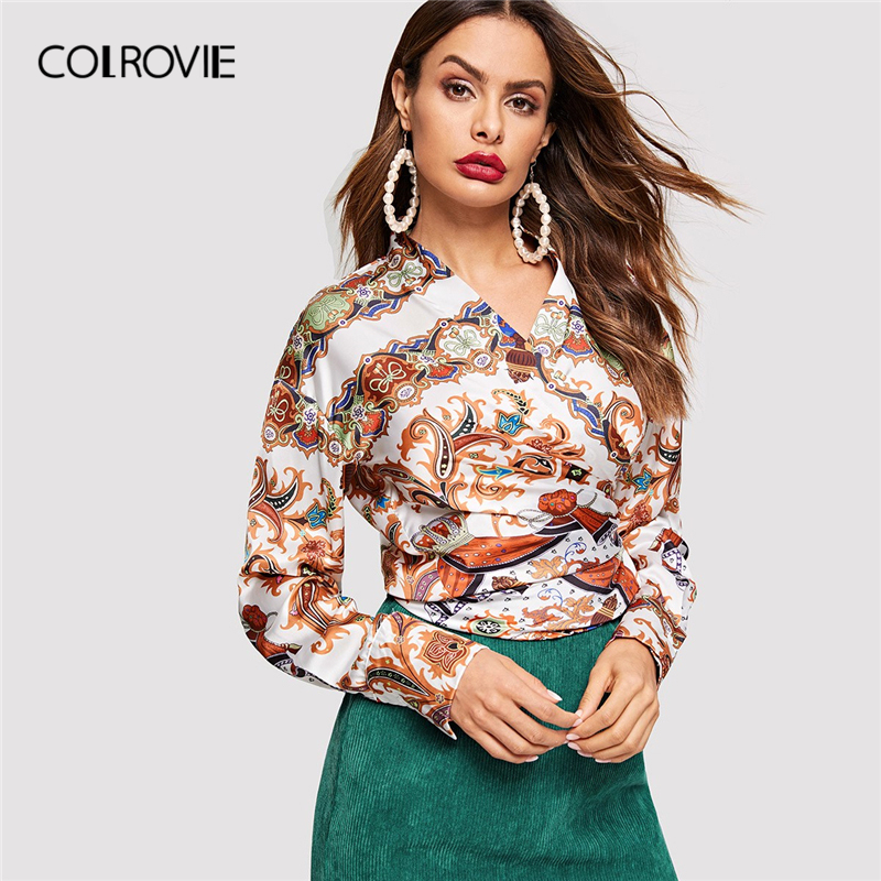 COLROVIE Graphic Print Knot Vintage   Blouse     Shirt   2019 Spring Elegant Long Sleeve Office Ladies   Shirts   Womens Tops And   Blouses