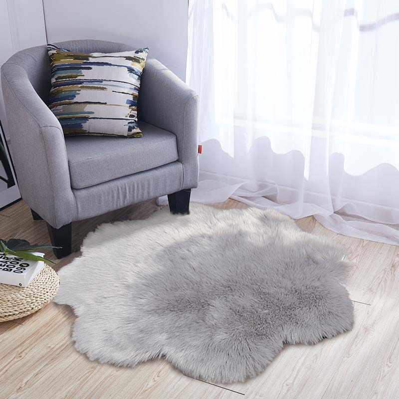 Soft Faux Fur Wool Living Room Sofa White Carpet Plush Carpets For Bedroom Sheepskin Round Fluffy