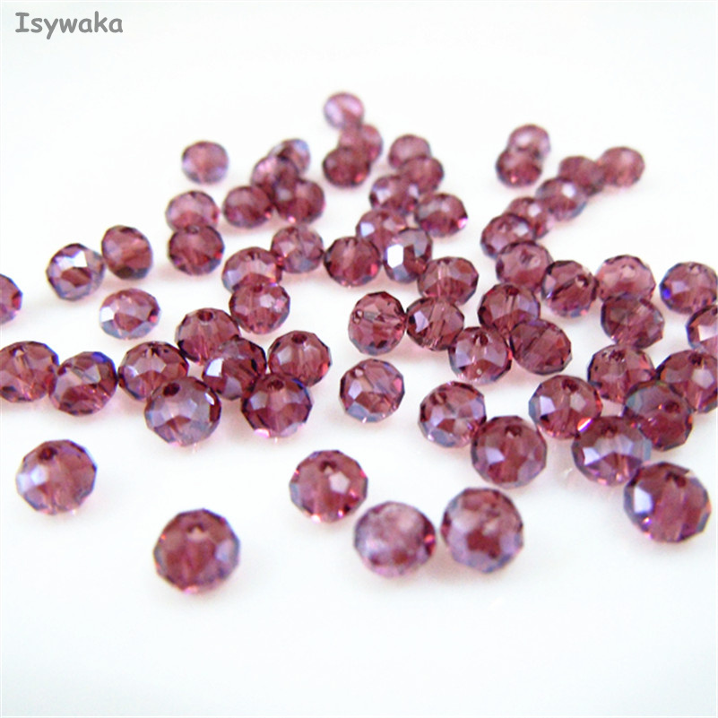 Isywaka Purple Red AB Color 3*4mm 145pcs Rondelle Austria faceted Crystal Glass Beads Loose Spacer Round Bead for Jewelry Making