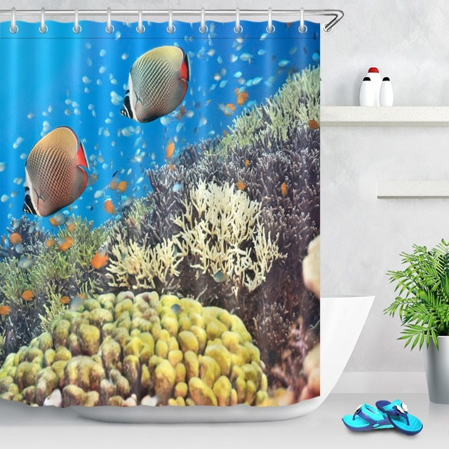 LB Shower Curtains Underwater Panorama With Turtle Coral Reef And Fishes Pineapple Bathroom Set For Bath Tub Home Decor