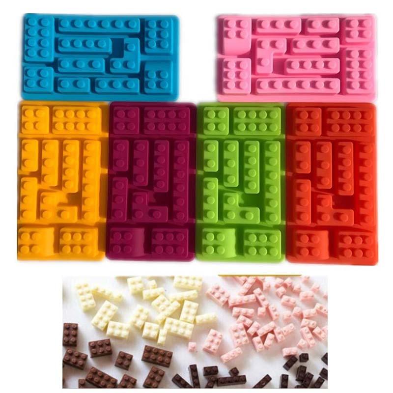 Radošie virtuves piederumi Taisnstūra Lego silikona šokolādes pelējuma kūku rīki Ledus želejas konfektes pelējuma cepšanas mīklas instrumenti K0118