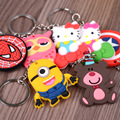 Kawaii Anime Cartoon Action Figure Toys Despicable Me Hello Kitty Captain American Spiderman Mouse Night Owl Keychain Pendant