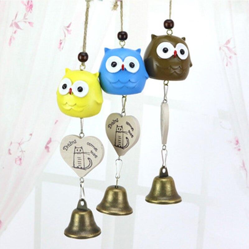 Craft Wind Bell Metal Glass Chimes Outdoor Animal Resonant Owl Hanging Garden