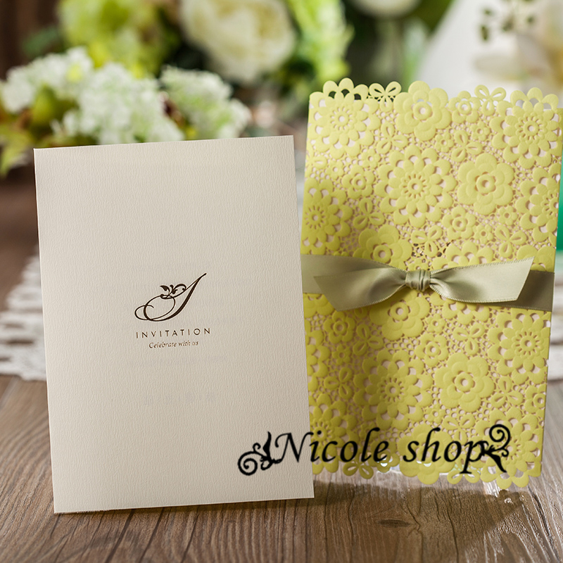 30psc Lemon Yellow Green Wedding Invitations Lawn Wedding ...