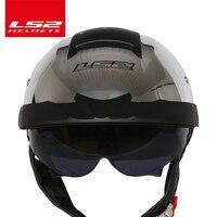 LS2 Global Store Original LS2 OF590 Harley Motorcycle Helmet With Sunshield Half Face Vintage Moto Helmet