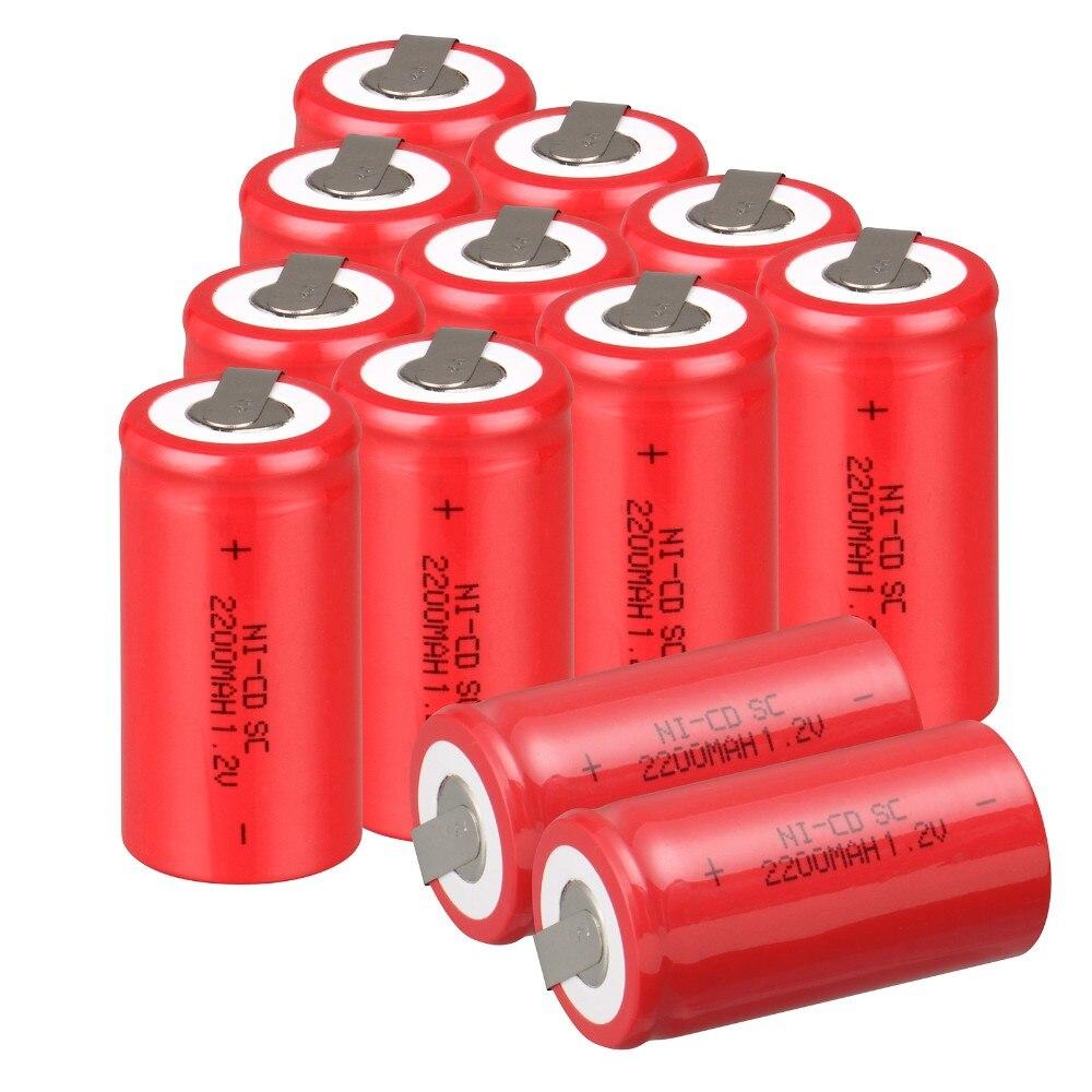 12 unids SUBC batería batería recargable 1.2 v 2200 mah SC batería power bank ba