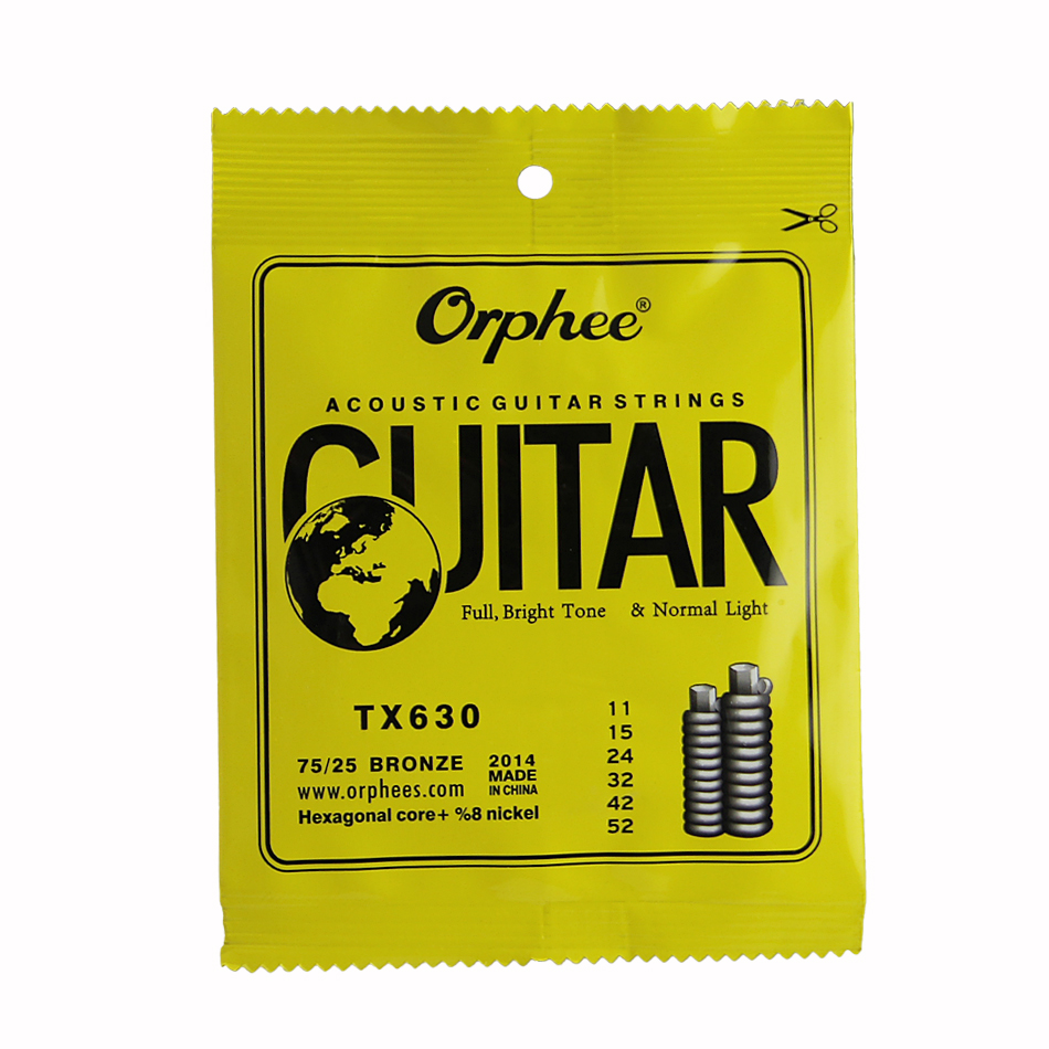 цены  Orphee ACOUSTIC Guitar String  (011-052) Hexagonal core+8% nickel FULL,Bright tone&Normak Light