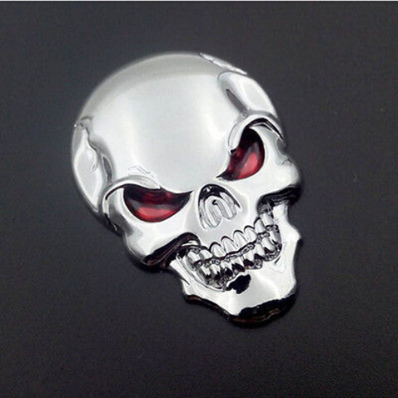 New 3D Skull Bone Sticker Metal Bike Sticker Chrome Sliver Car Motor Bicycle Emblem Badge Decals Stickers with Red Eye 50mm*35mm