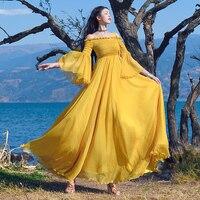 Новый модный бренд длинное платье 2018 Лето Для женщин пикантные с открытыми плечами упругой груди с расклешенными рукавами листьев лотоса с