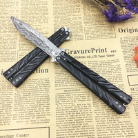 440C Damascus Coating Stainless Steel Training Knife Dull Butterfly Knife Balisong Knife No Edge Dull Tool