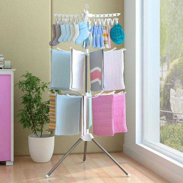 3 Layer Drying Rack Stainless Steel Foldable Clothing Sock Towel