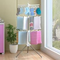 3 Layer Drying Rack Stainless Steel Foldable Clothing Sock Towel Underware Drying Racks With Clips White/Pink Hook Hanger Holder